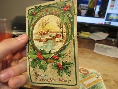 Vintage Old Antique Victorian Era Happy New Year Postcard Horse Buggy Carriage
