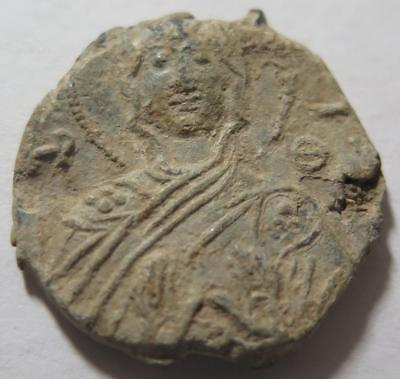 Byzantine Lead Seal Man w/ Halo Holding Hands up in front Possibly Christ