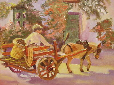 1978 Boy In Donkey Cart Flowers Painting