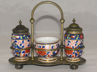 Antique Royal Vienna Porcelain Salt & Pepper Condiment Set Japanese Imari Style