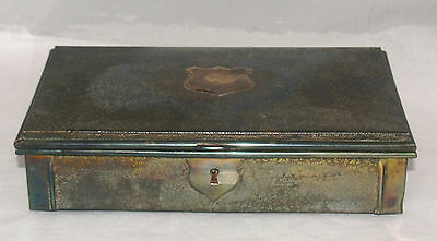Antique Victorian Aesthetic Movement Nickel Silver Brass Jewelry Document Box