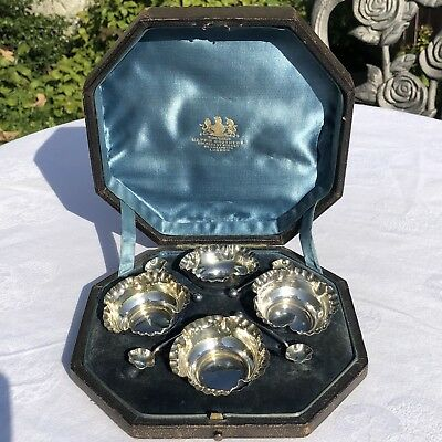 Antique Victorian Four Hallmarked Solid Silver Boxed Salts and Spoons 1892