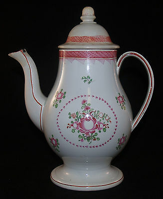 Antique Lowestoft Worcester English Porcelain Coffee Pot Teapot Famille Rose