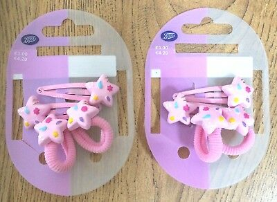 GIRLS HAIR SLIDES X4 HAIR GRIPS BARRETTE PINK BLUE RAINBOW FLOWERS CUTE BNWT 99p