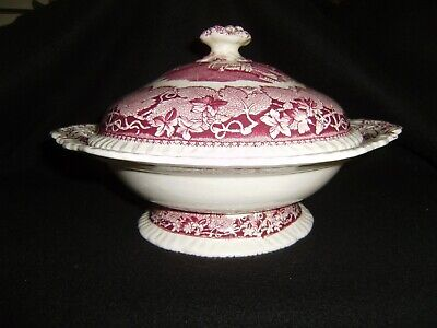 Vintage MASON'S  Vista Covered Vegetable Bowl PINK Introduced in 1890