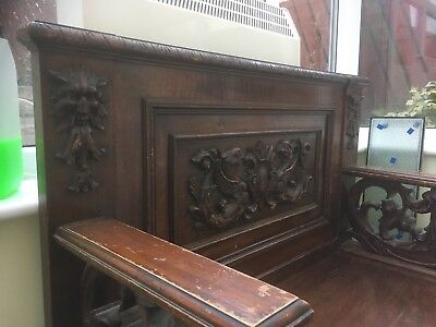 Antique Carved Oak Box Settle / Bench / Seat with Storage / Monks Bench