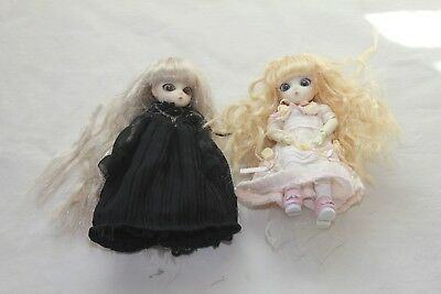Small Mini Goth Girl Chibi Moon Chibi Type Doll Bandai Pair Black & White Dress