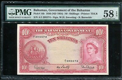 BAHAMAS P-14b, 1954  10 Shillings PMG-58 a Very Choice About Uncirculated EPQ