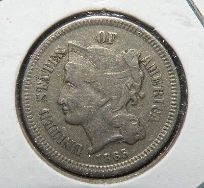 1865 Three Cent Nickel Piece Civil War Year US Coin III Liberty VF Antique Lot