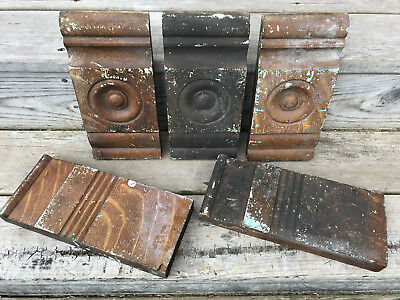 (5) Architectural Salvage 2 WOOD Door Plinth Block 3 Bull's Eye Corner Pediment