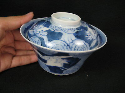 Antique Japanese Meiji Era Signed Hand Painted Ceramic Lidded Bowl Crane