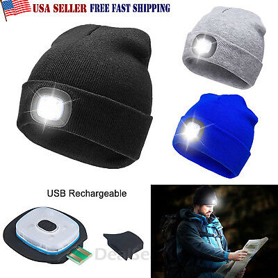 Unisex High Powered Light LED Beanie Hat With USB Rechargeable Battery 5 Hours