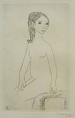 Fernando Rivero Lithograph Etching Young Lady 1964 Puerto Rico Print Spain