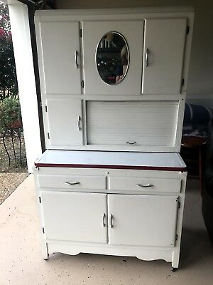Antique HOOSIER Style Kitchen Cabinet- good , white