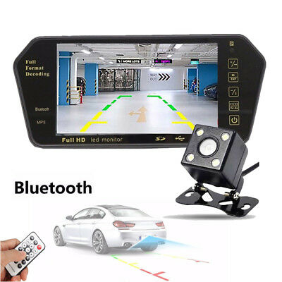 "7"" LCD Mirror Monitor+ Wireless Car Rear View Backup Night Vision Camera DVR Cam"