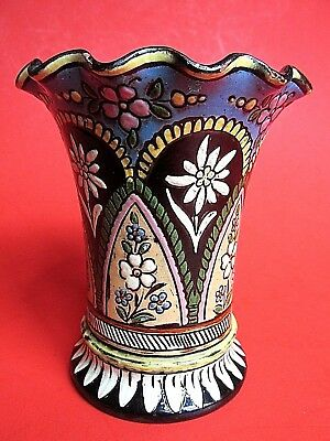 Signed Pottery Vase Thun Thoune Painted Antique Old Rare Vintage Original Swiss