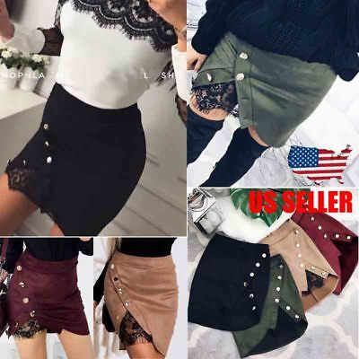 Women Short Bodycon Skirts Lace Up Suede Leather Pocket Preppy Mini dress USA