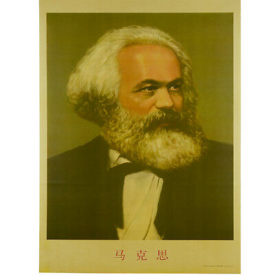 Socialism Communism Leader Karl Marx Vintage Portrait Old Wall Poster W/ Tube