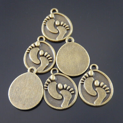 Zinc Alloy Jewelry Crafts Lovely Footprint Retro Bronze Pendants Charms  40pcs