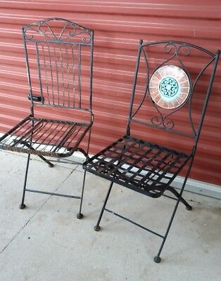 "Vintage Black Wrought Iron Folding Garden Chairs 38"" & 36"" Tall 14"" x 14"" Seat"