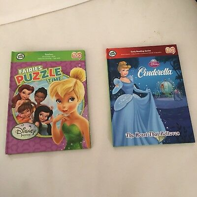 Lot Of 2 Leap Frog Tag Reader Interactive Hardcover Books DISNEY Princess Fairy