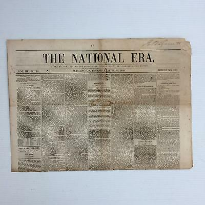 "1849 APRIL, ANTI-SLAVERY NEWSPAPER ""THE NATIONAL ERA"" By JOHN GREENLEAF WHITTIER"