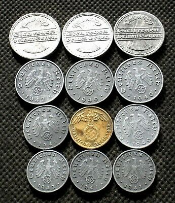 Lot Of Twelve Old Coins Of Germany (Weimar Republic & Third Reich) - Mix 1549