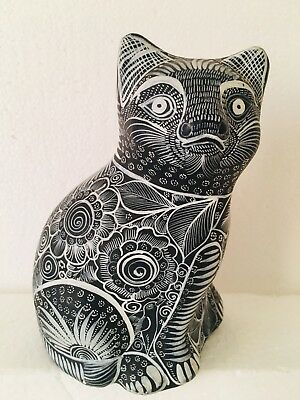 Hand Painted Mexico Clay Pottery Cat Black White Floral Tribal Folk Art Figurine