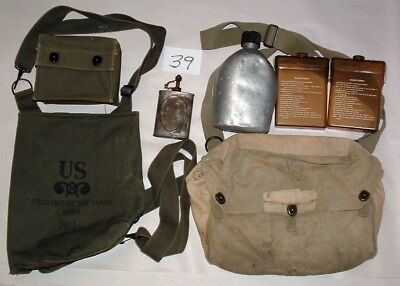 WWII US ARMY WEB GEAR LOT w SHOULDER BAGS CANTEEN POUCHES & MORE LOT#39
