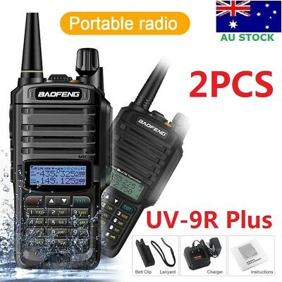 2x Waterproof Baofeng UV-9R Plus Walkie Talkie DualBand UHF/VHF Two Way FM Radio