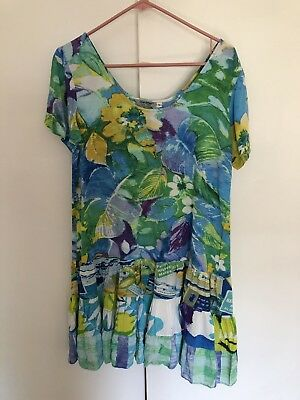 935de100 JAMS WORLD Vista Ruffle Rayon Hawaiian Knee Length Dress Size Small