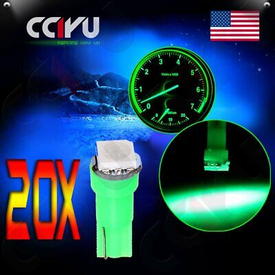 20pcs T5 Led Green 5050SMD Dashboard Dash Gauge Instrument Panel Light Bulb 2721