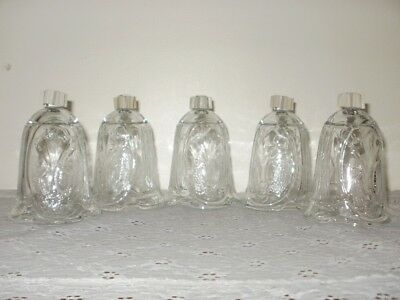 HOME INTERIORS CLEAR EMBOSSED ANGEL VOTIVE CUPS Set of 5 HOMCO
