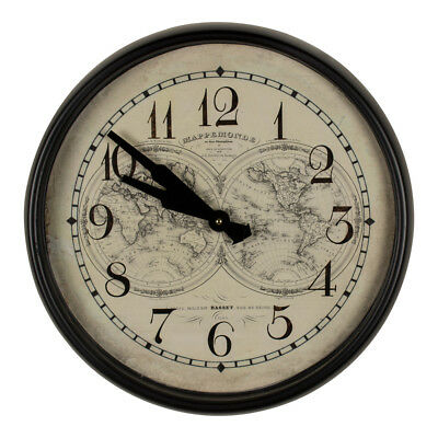 French Antique Style World Maps Atlas Black Cream Round Metal Large Wall Clock