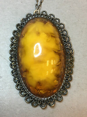 Natural Old Antique Yellow Butterscotch Baltic Amber Silver Necklace