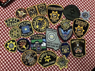 vintage (LOT OF 21) NEW POLICE PATCHES, LAW ENFORCEMENT, SHERIFF,
