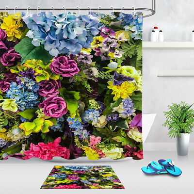 Florid Flowers Archway Decor Collection Waterproof Bathroom Shower Curtain Hooks
