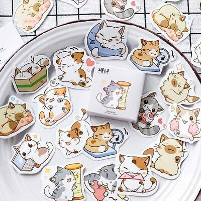 45Pcs/Box Japanese Cute Cat Paper Stickers DIY Diary Scrapbooking Sticker Crafts