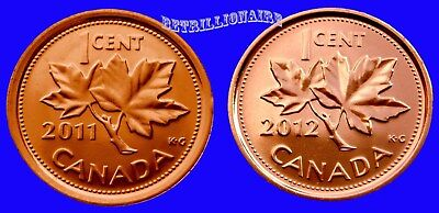2011 & 2012 Canada, 2X 1 Cent Canadian Penny,Magnetic & Non Magnetic.unc.one ¢