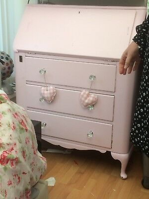 vintage bureau, ottoman and matching pink chair