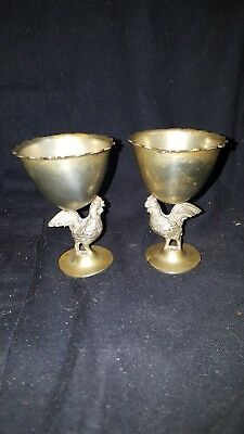 Pair of Vintage G V & Co White Metal Egg Cups with chicken base see pictures