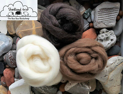 100% Shetland Natural Wool Roving Felting, needle felting, animal colours 100g