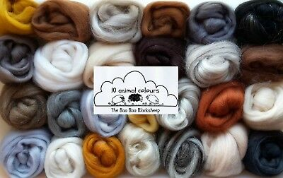 10 animal colours / wool roving/ tops / needle felting /spinning 100g