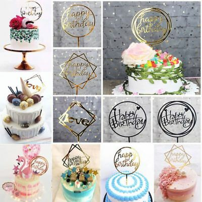 Cake Toppers Supplies Party Decal Golden Acrylic Card Cake Topper Love Happy Birthday Baking Accs. & Cake Decorating