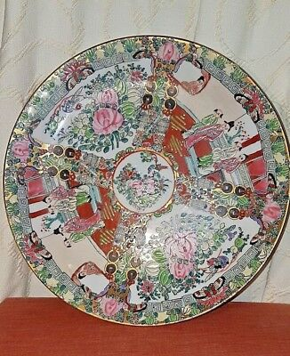 Vintage Chinese Canton Famille Rose Porcelain Plate Hand Painted With Enamels #2
