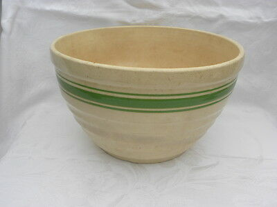 Large Antique/Vintage Cream Colored Stoneware Green Banded Mixing Bowl