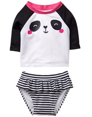 Gymboree Girl Black White Stripe Panda Rash Guard Swimsuit 3 6 12 Mo Nwt