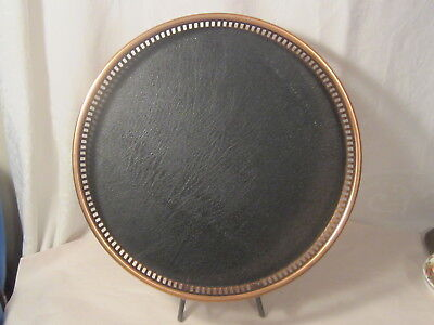 Vintage Coppercraft Guild Copper Tray With Black Faux Leather Lining /  13 Inch