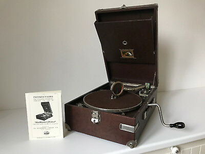 "His Master´s Voice (HMV) Koffer-Grammophon 101 in rare ""Antique Brown"" **TOP**"