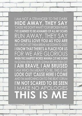 THE GREATEST SHOWMAN - THIS IS ME - KEALA SETTLE Typography Words Song  Lyrics
